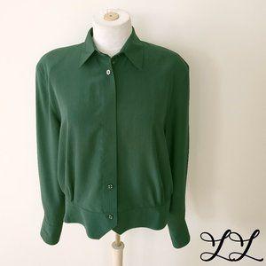 Vintage Blouse Green 1980s Button Down Work Dressy